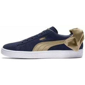 Puma Varsity Peacoat Blue Sues Shoes Gold Bow 8